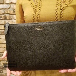 Kate spade Jackson Large Zip Pouch Black Leather